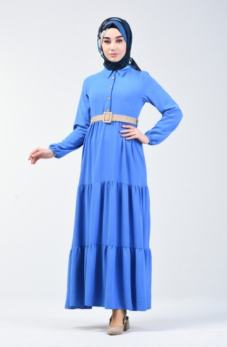 Aerobin Kumaş Kemerli Elbise 5483-04 Mavi