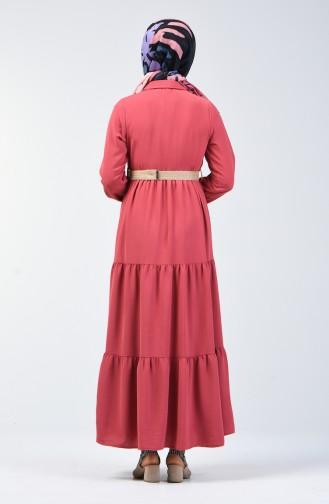Aerobin Kumaş Kemerli Elbise 5483-06 Gül Kurusu