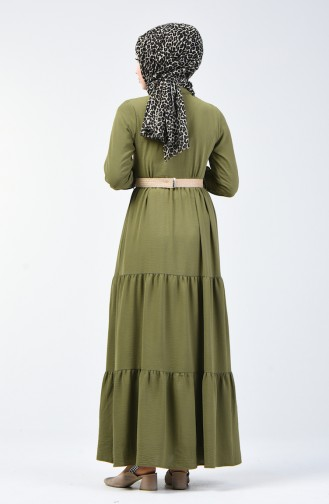 Light Khaki Green İslamitische Jurk 5483-07