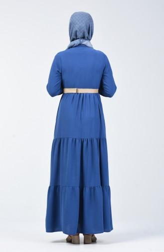 Aerobin Kumaş Kemerli Elbise 5483-08 İndigo