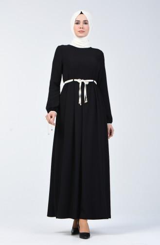 فستان بربطة على الأكمام أسود 6844-01