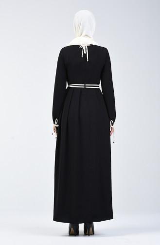Kolları Bağcıklı Elbise 6844-01 Siyah