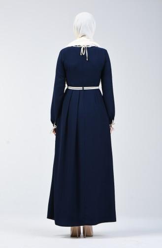 Kolları Bağcıklı Elbise 6844-02 Lacivert