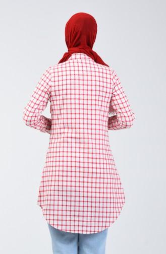 Kareli Tunik 6443-04 Kırmızı