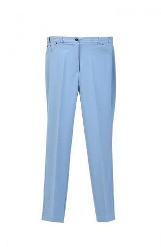 Büyük Beden Lastikli Düz Paça Pantolon 4005-05 Buz Mavisi 4005-05