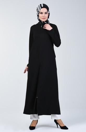 Abaya à Fermeture 3006-02 Noir 3006-02