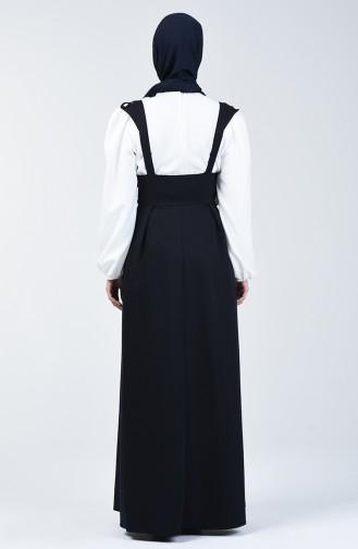 Plissee Detailliertes Gilet Kleid 0100-01 Dunkelblau 0100-01