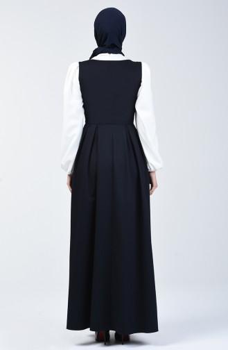 Düğme Detaylı Jile Elbise 0101-02 Lacivert