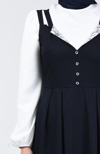 Button Detailed Waistcoat Dress 0101-02 Navy Blue 0101-02