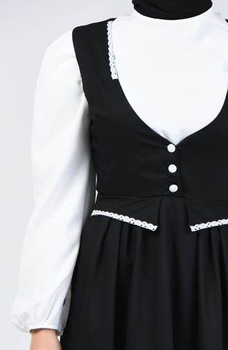 Lace Detailed Waistcoat Dress 0102-01 Black 0102-01