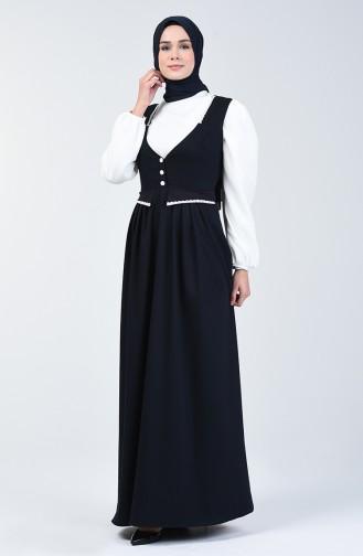 Dantel Detaylı Jile Elbise 0102-02 Lacivert