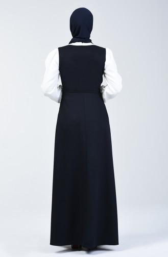 Lace Detailed Waistcoat Dress 0102-02 Navy Blue 0102-02