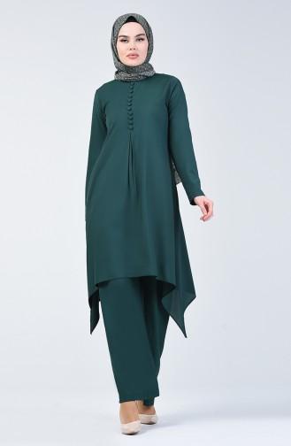 Tunik Pantolon İkili Takım 11000-08 Zümrüt Yeşili