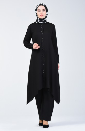 Düğme Detaylı Tunik Pantolon İkili Takım 11001-01 Siyah