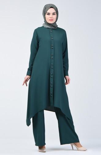 Düğme Detaylı Tunik Pantolon İkili Takım 11001-02 Zümrüt Yeşili 11001-02