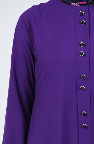 Düğme Detaylı Tunik Pantolon İkili Takım 11001-05 Mor