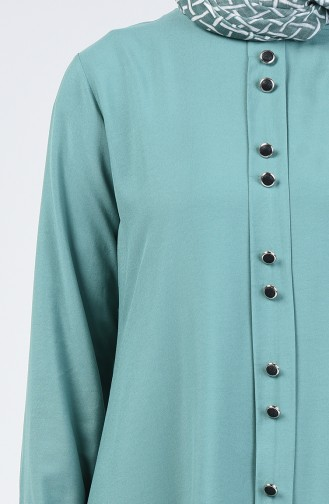 Düğme Detaylı Tunik Pantolon İkili Takım 11001-06 Çağla Yeşili