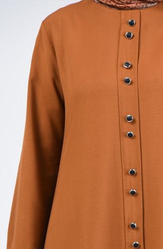 Düğme Detaylı Tunik Pantolon İkili Takım 11001-08 Taba