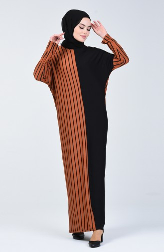 Garnili Viskon Elbise 7997-02 Taba Siyah