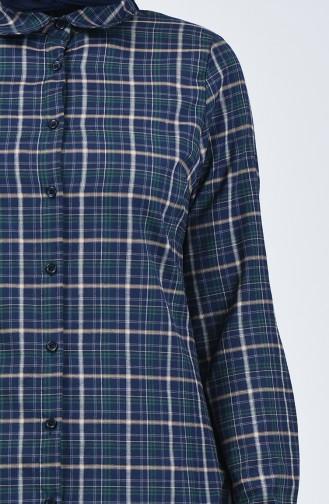 Kareli Tunik 6441-05 Lacivert Zümrüt Yeşili 6441-05