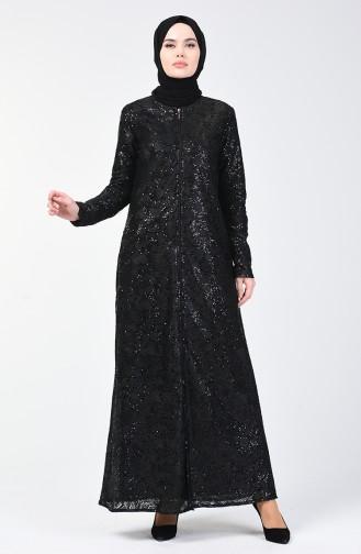 Payetli Ferace 7259-01 Siyah