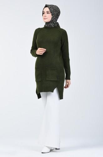 Knitwear Long Sweater with Pocket 0567-02 Khaki 0567-02