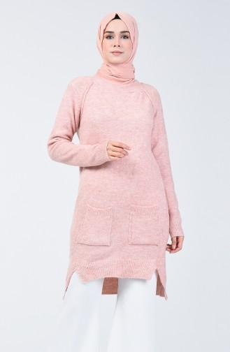 Knitwear Long Sweater with Pocket 0567-03 Powder 0567-03