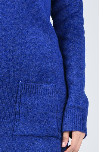 Knitwear Long Sweater with Pocket 0567-04 Saxe Blue 0567-04