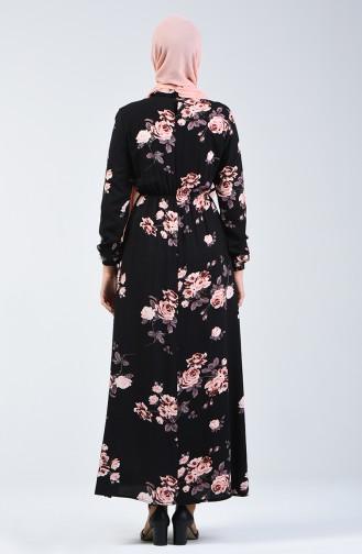 Kolu Lastikli Desenli Elbise 3017-01 Siyah