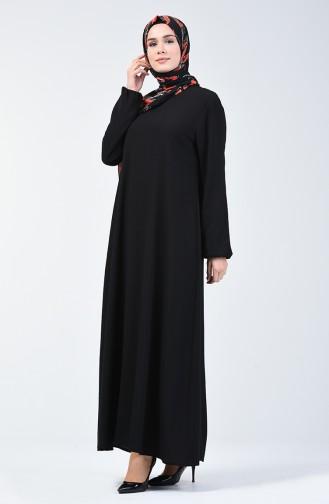 Kolu Lastikli Düz Elbise 0115-06 Siyah