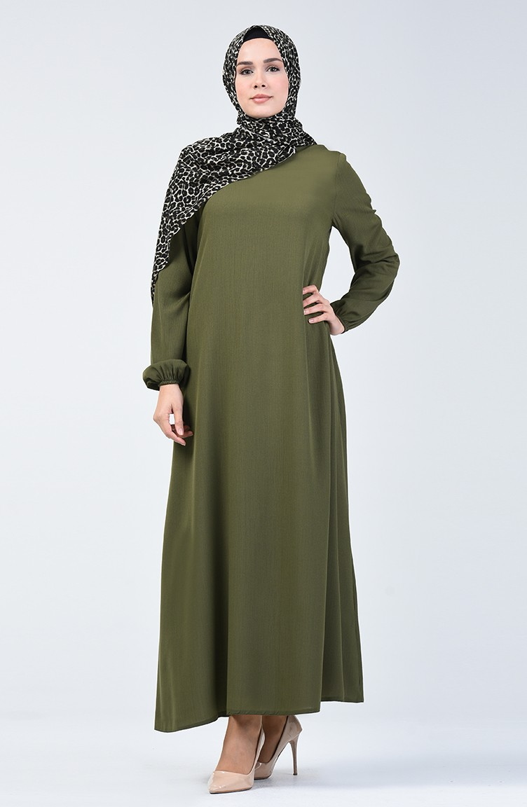Elastischer Arm Kleid 17-17 Khaki Grün 17-17
