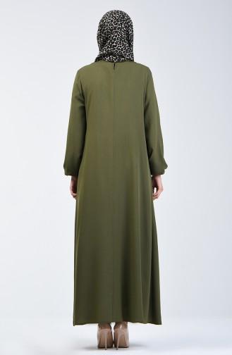 Kolu Lastikli Düz Elbise 0115-08 Haki Yeşil