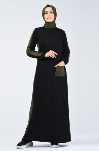 Khaki İslamitische Jurk 3095-17
