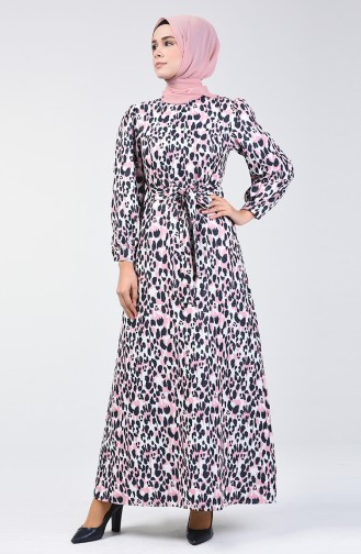 Balon Kol Simli Elbise 60090-01 Pudra