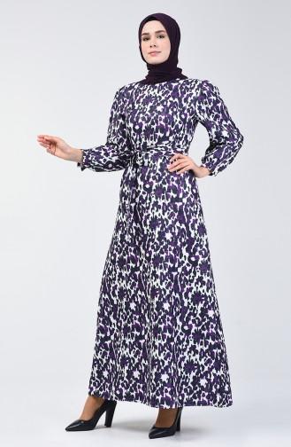 Balon Kol Simli Elbise 60090-02 Mor