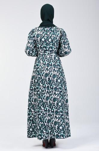 Balon Kol Simli Elbise 60090-03 Zümrüt Yeşili