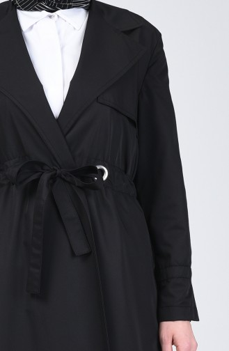 Double Breasted Trench Coat 1408-02 Black 1408-02
