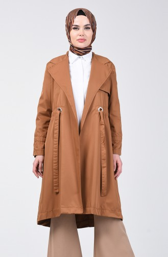 Double Breasted Trench Coat 1408-05 Tobacco 1408-05