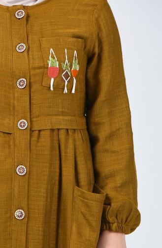 Boydan Düğmeli Keten Elbise 3018-04 Yağ Yeşili