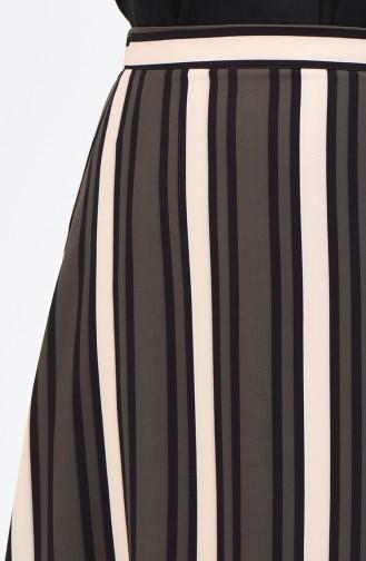 Çizgili Kloş Etek SNB191042A-01 Haki
