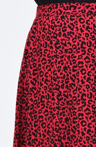 Leopar Desenli Kloş Etek SNB191042B-01 Kırmızı