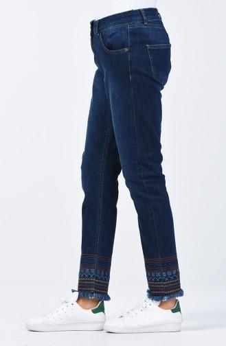 Nakışlı Kot Pantolon 8075-02 Lacivert