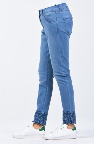 Pantalon Jean Découpé au Laser 8076-01 Bleu Jean 8076-01