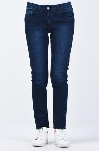 Pantalon Jean Découpé au Laser 8076-02 Bleu Marine 8076-02
