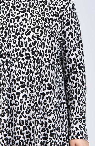 Büyük Beden Leopar Desenli Tunik Pantolon İkili Takım 5925-02 Siyah Beyaz