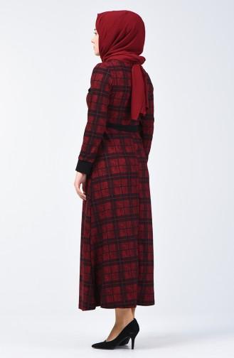 Robe à Ceinture Détail Poche 0350-02 Bordeaux 0350-02