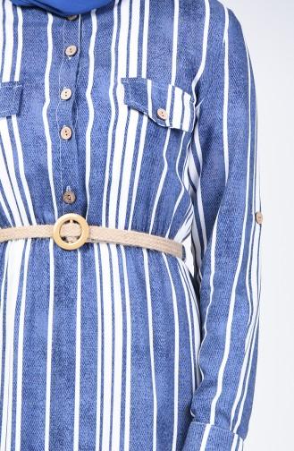 Çizgili Kemerli Elbise 0352-01 İndigo
