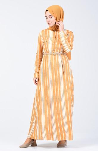 Çizgili Kemerli Elbise 0352-02 Hardal 0352-02