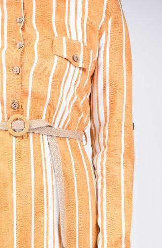 Gestreiftes Kleid mit Gürtel 0352-02 Senf 0352-02