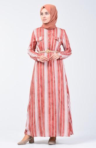 Çizgili Kemerli Elbise 0352-03 Oranj 0352-03